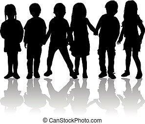 enfants, silhouette