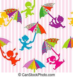enfants, silhouettes, à, griffonnage, parapluies