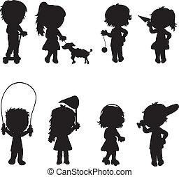 enfants, silhouettes, actif