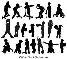 enfants, silhouettes