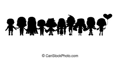 enfants, silhouettes, groupe