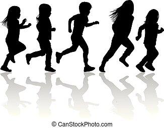 enfants, silhouettes, running., silhouette., vecteur