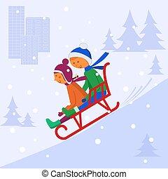enfants, sledding, bas, hill.