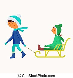 enfants, sledding.