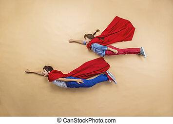 enfants, superheroes