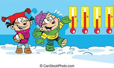 enfants, sur, a, hiver, promenade