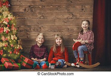 enfants, sur, bois, fond