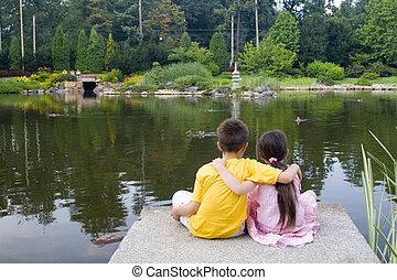enfants, sur, lac