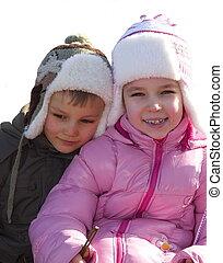 enfants, sur, neige