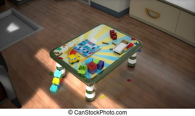 enfants, table, animation
