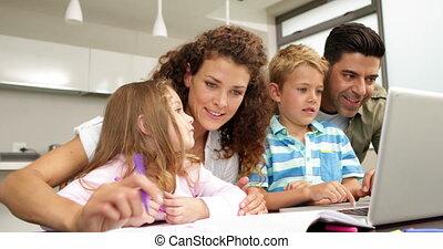 enfants, table, mignon, dessin