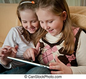 enfants, tablette, jouer