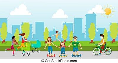 enfants, temps, vecteur, délassant, récréation, bébé, dessin animé, parc, carriages., homme, bicycle., course, outdoors., jeunes, mères, parc, dépenser, parents, sports, illustration.