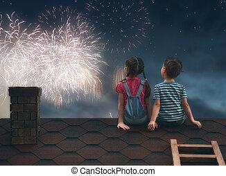 enfants, toit, asseoir
