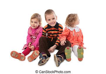 enfants, trois, séance