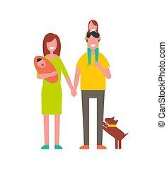enfants, vecteur, illustration, famille, parents