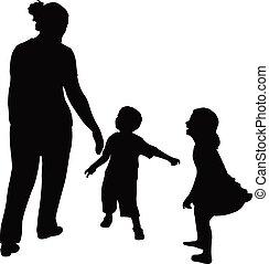 enfants, vecteur, silhouette, jouer, mère