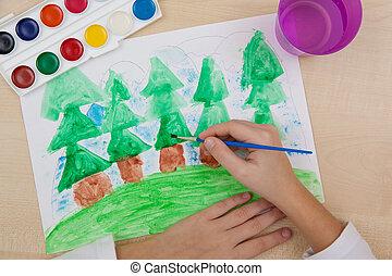 enfants, watercolor., dessin