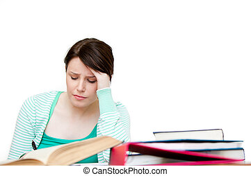 enfatizado, estudiante, hacer, ella, deberes