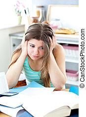 enfatizado, hembra, estudiar, adolescente, cocina
