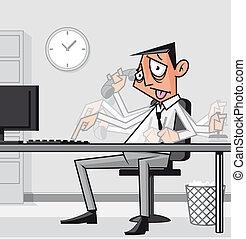 enfatizado, hombre de negocios hecho trabajar demasiado