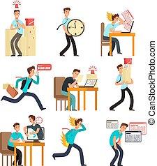 enfatizado, personas oficina, para, fecha tope, y, gerencia de tiempo, concept., hombre de negocios, debajo, fecha tope, workload., vector, caracteres