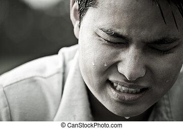enfatizado, y, deprimido, macho asiático