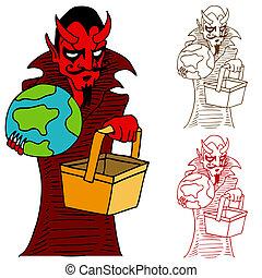 enfer, prendre, diable, mondiale, handbasket