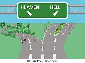 enfer, route, pavé