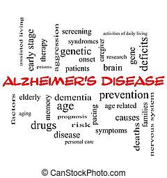 enfermedad de alzheimer, palabra, nube, concepto, en, rojo,...