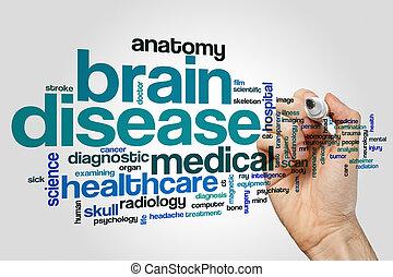 enfermedad del cerebro, palabra, nube, concepto, en, gris, plano de fondo
