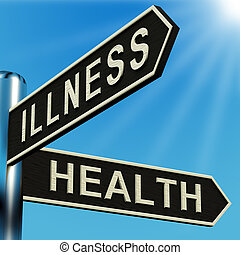 enfermedad, o, salud, direcciones, en, un, poste indicador