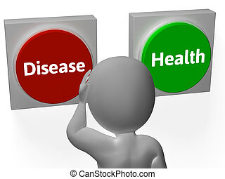 enfermedad, salud, botones, exposición, enfermedad, o,...