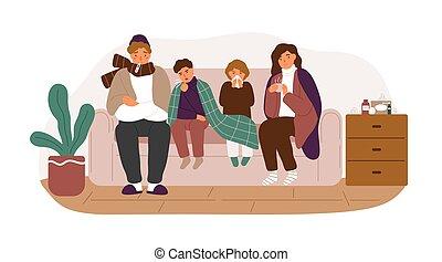 enfermedad, snot, vector, adultos, plano, familia , enjugar, síntomas, temperatura, frío, niños, tartán, toser, medición, aislado, común, cubierta, illustration., el sentarse junto, blanco, sofá