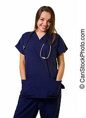 enfermeira, amigável, jovem