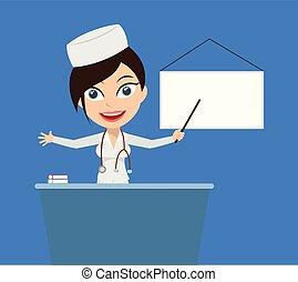 enfermeira, -, apresentando, tábua, branca