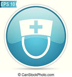 enfermeira, azul, lustroso, redondo, vetorial, ícone, em, eps, 10., editable, modernos, desenho, internet, botão, branco, experiência.
