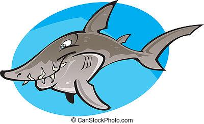 enfermeira, caricatura, tubarão, cinzento