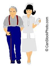 enfermeira, com, homem idoso