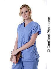 enfermeira, com, mapa
