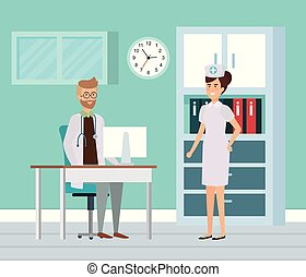 enfermeira, consultório médico, doutor