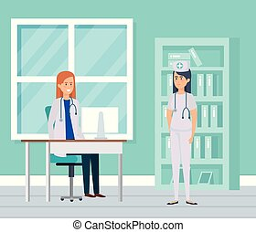enfermeira, consultório médico, médico feminino