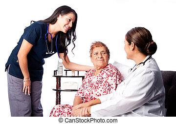 enfermeira, consultar, paciente,  Sênior, doutor