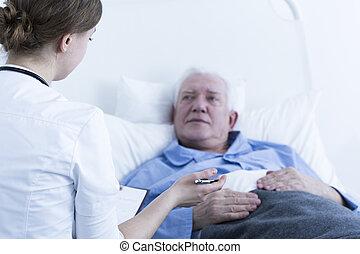 enfermeira, conversa, paciente