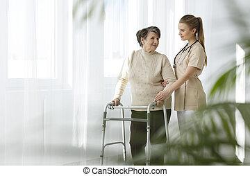 enfermeira, cuidando, senhora