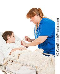 enfermeira, dá, menino, um, tiro