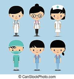 enfermeira, &, doutor, caráteres, equipe
