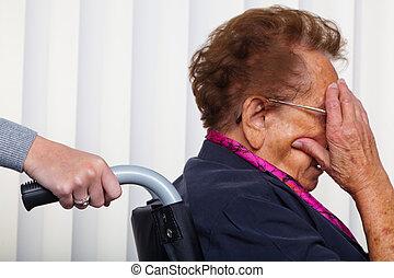 enfermeira, e, a, mulher velha, em, um, cadeira rodas