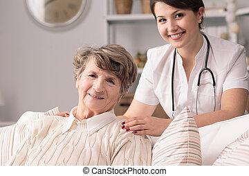 enfermeira, e, paciente