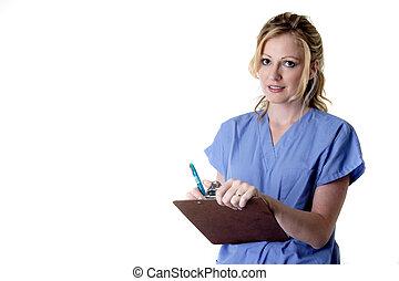enfermeira, em, azul